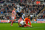 Newcastle United Midfielder Moussa Sissoko just misses  during the Barclays Premier League match between Newcastle United and Stoke City at St. James's Park, Newcastle, England on 31 October 2015. Photo by Craig McAllister.