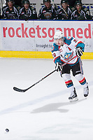 KELOWNA, CANADA - DECEMBER 30: Myles Bell #29 of the Kelowna Rockets makes a pass against the  Everett Silvertips at the Kelowna Rockets on December 30, 2012 at Prospera Place in Kelowna, British Columbia, Canada (Photo by Marissa Baecker/Shoot the Breeze) *** Local Caption ***