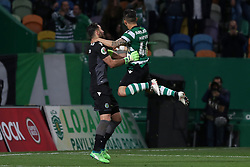 April 18, 2018 - Lisbon, Portugal - Sporting's goalkeeper Rui Patricio from Portugal (L) celebrates the victory with Sporting's forward Fredy Montero from Colombia after the Portugal Cup semifinal second leg football match Sporting CP vs FC Porto at the Alvalade stadium in Lisbon on April 18, 2018. (Credit Image: © Pedro Fiuza/NurPhoto via ZUMA Press)