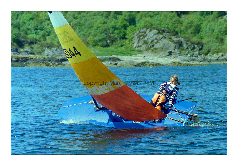 Historic Scottish Series Images<br /> <br /> Princess Zara sailing Topper as part of Tarbert Sailing Club during the event in 1991<br /> <br /> Picture Copyright  PFM Pictures