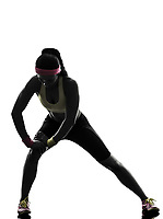 one woman exercising fitness workout in silhouette on white background