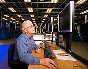 WARREN, MICHIGAN - January 19: Doug Drauch, Lead Engineer, for GM's Global Battery Systems facility analyzes data from a Chevrolet Volt battery currently under test at GM's Global Battery Systems test facility in Warren, MI, Tuesday, January 19, 2010. It is the largest automotive test facility of it's type in the United States. (Jeffrey Sauger)