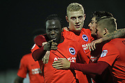 Brighton & Hove Albion centre forward Elvis Manu (19) scores a goal 1-0 and celebrates during the EFL Trophy match between AFC Wimbledon and U23 Brighton and Hove Albion at the Cherry Red Records Stadium, Kingston, England on 6 December 2016.