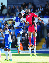 Dover Athletic's Richard Orlu heads clear from Bristol Rovers' Neal Trotman - Photo mandatory by-line: Neil Brookman - Mobile: 07966 386802 - 04/10/2014 - SPORT - Football - Bristol - Memorial Stadium - Bristol Rovers v Dover - Vanarama Football Conference