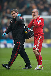 WOLVERHAMPTON, ENGLAND - Saturday, January 22, 2011: Liverpool's Raul Meireles walks off injured during the Premiership match against Wolverhampton Wanderers at Molineux. (Photo by David Rawcliffe/Propaganda)