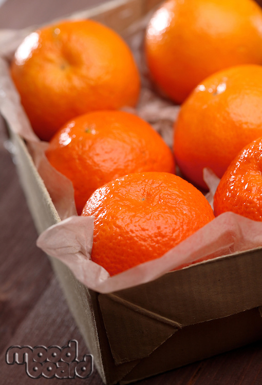 Mandarins in box -close-up