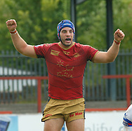 Benjamin Jullien of Catalans Dragons celebrates scoring the try against Wakefield Trinity during the Betfred Super League match at the Mobile Rocket Stadium, Wakefield<br /> Picture by Stephen Gaunt/Focus Images Ltd +447904 833202<br /> 07/07/2018