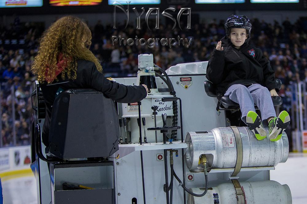 KELOWNA, CANADA - JANUARY 20:  Orchard Park Zamboni Rider at the Kelowna Rockets game on January 20, 2018 at Prospera Place in Kelowna, British Columbia, Canada.  (Photo By Cindy Rogers/Nyasa Photography,  *** Local Caption ***
