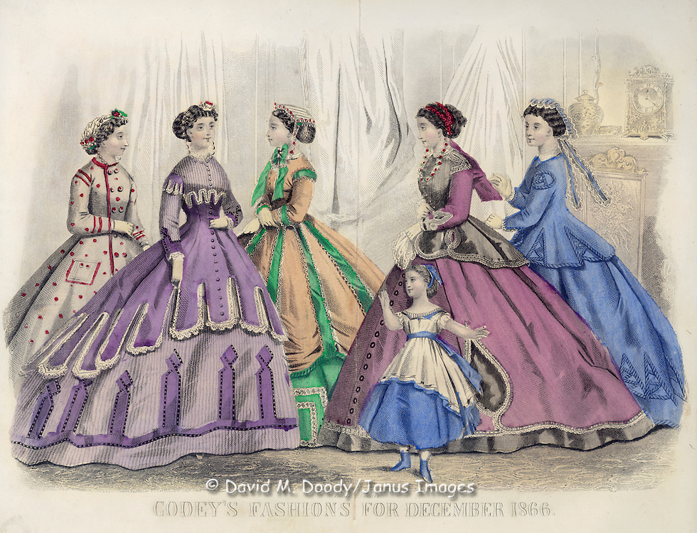 Vintage Illustration: Godey's Fashion magazine December 1866