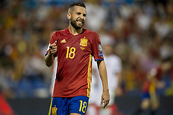 October 6, 2017 - Alicante, Spain - Jordi Alba (FC Barcelona) during the qualifying match for the World Cup Russia 2018 between Spain and Albaniaat the Jose Rico Perez stadium in Alicante, Spain on October 6, 2017. (Credit Image: © Jose Breton/NurPhoto via ZUMA Press)