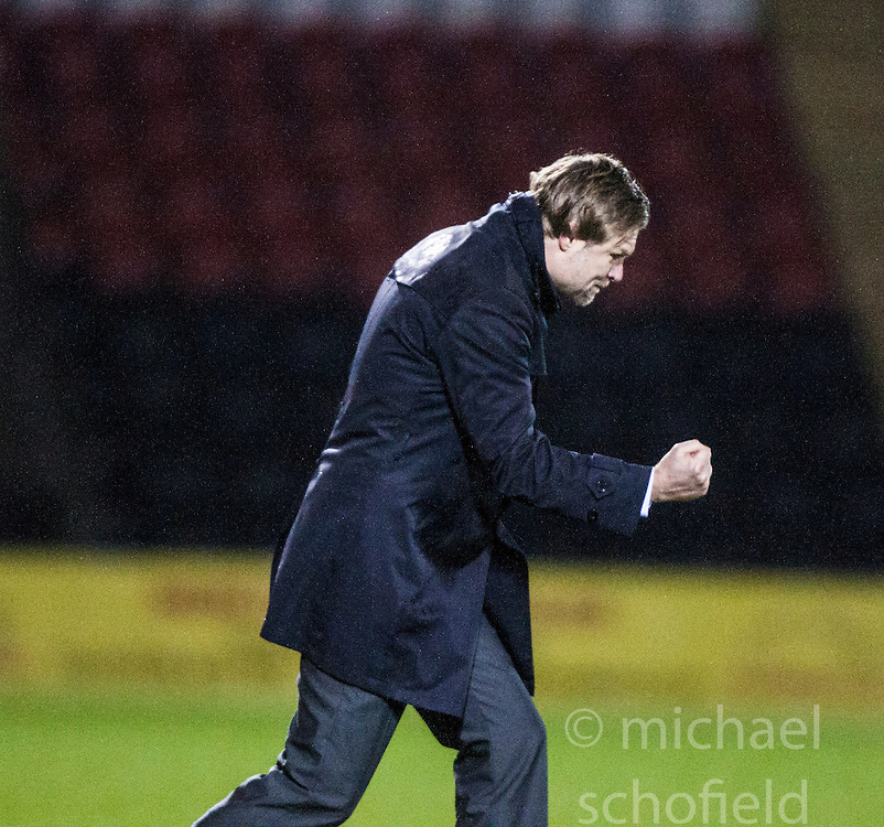 Steven Pressley, Falkirk manager celebrates after they'd scored the second goal..Airdrie United 1 v 4 Falkirk, 22/12/2012..©Michael Schofield.
