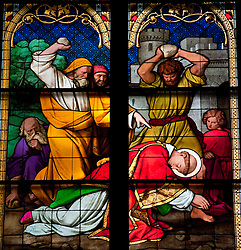 Stained glass window in famous Cologne cathedral in Germany