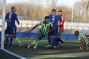 AFC Wimbledon striker Dominic Poleon (10) scores a goal 3-2 during the The FA Cup match between Curzon Ashton and AFC Wimbledon at Tameside Stadium, Ashton Under Lyne, United Kingdom on 4 December 2016. Photo by Stuart Butcher.
