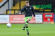 Forest Green Rovers Liam Kitching(20) warming up during the EFL Sky Bet League 2 match between Cambridge United and Forest Green Rovers at the Cambs Glass Stadium, Cambridge, England on 7 September 2019.