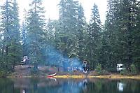 Van camping near Mt Rainier, WA.