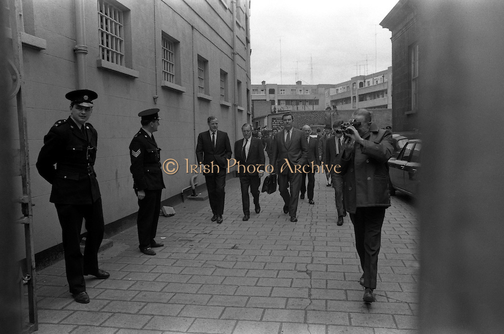 Haughey and Blaney leave the Bridewell   D478.<br /> 1970.<br /> 28.05.1970.<br /> 05.28.1970.<br /> 28th May 1970.<br /> In the aftermath of the arms to the North scandal Mr Charles Haughey TD and Mr Neil Blaney TD were charged in connection with the alledged offence. they were officially charged at the Bridewell in Dublin and were then released on bail pending trial.<br /> Image shows Charles Haughey leaving the Bridewell after he was released on bail.