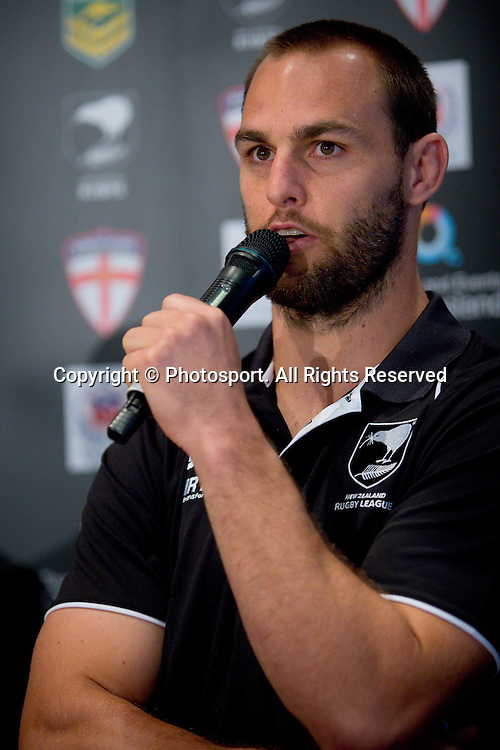 New Zealand captain Simon Mannering (L) during a preview 4 Nations press conference, Brisbane Australia on October 24, 2014.