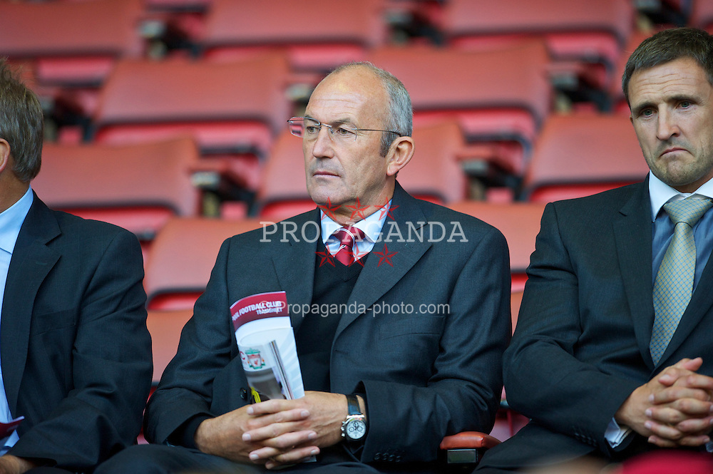 LIVERPOOL, ENGLAND - Thursday, August 5, 2010: Stoke City manager Tony Pulis sits in the director's box during the UEFA Europa League 3rd Qualifying Round 2nd Leg match against FK Rabotnicki at Anfield. (Pic by: David Rawcliffe/Propaganda)