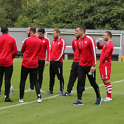 The Nomand's take to the pitch before the Dumbarton v Connah's Quay Nomads Irn Bru cup second round 2 September 2017<br /> <br /> <br /> <br /> <br /> (c) Andy Scott | SportPix.org.uk