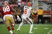 Cleveland Browns quarterback Baker Mayfield (6) looks for a receiver as San Francisco 49ers defensive end Ronald Blair (98) pursues during an NFL football game, Monday, Oct. 7, 2019, in Santa Clara, Calif. The 49ers defeated the Browns (Peter Klein/Image of Sport)