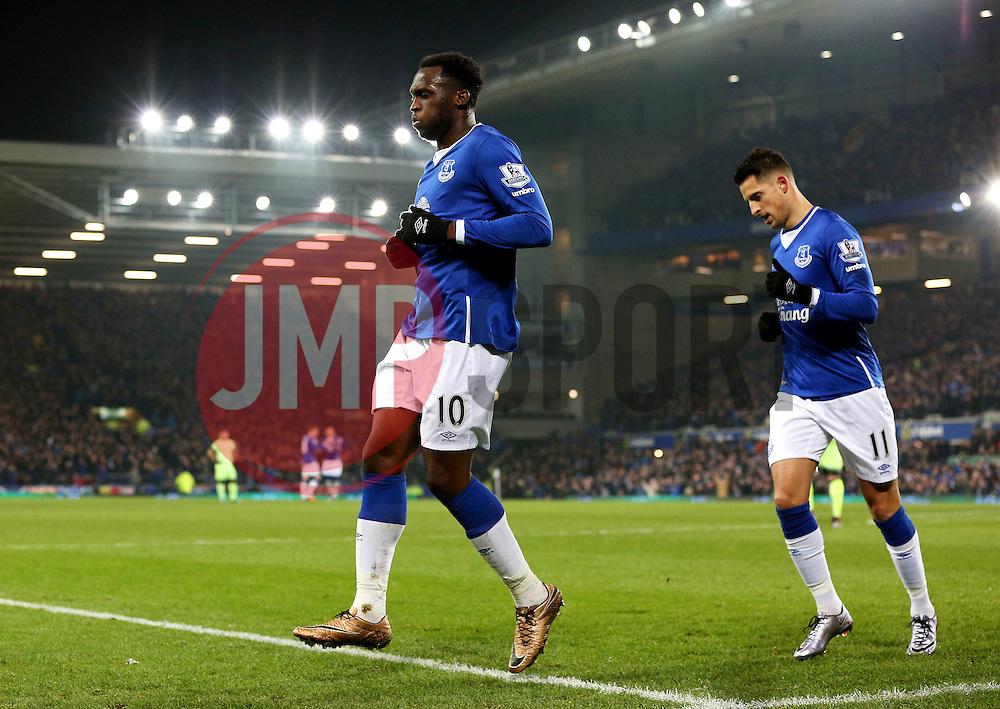 Everton's Romelu Lukaku celebrates after scoring his goal to make it 2-1 - Mandatory byline: Matt McNulty/JMP - 06/01/2016 - FOOTBALL - Goodison Park - Liverpool, England - Everton v Manchester City - Capital One Cup Semi-final