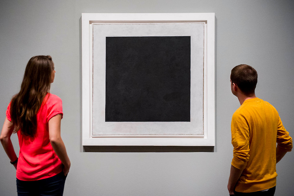 Tate Modern's new exhibition, of the avant-garde work of Russian Kazimir Malevich. Here Black Square, 1915.  Tate Modern, Bankside, London, UK.