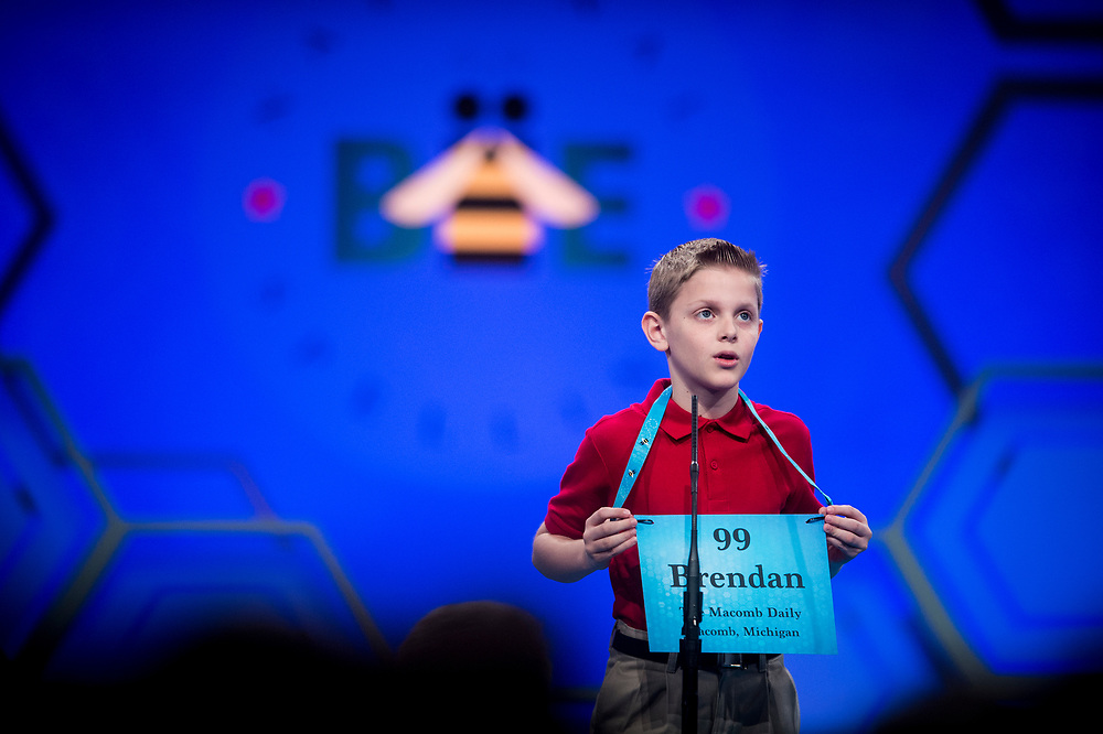 Brendan Pawlicki, 10, from Shelby Township, Mich., participates in the finals of the 2017 Scripps National Spelling Bee on Thursday, June 1, 2017 at the Gaylord National Resort and Convention Center at National Harbor in Oxon Hill, Md.      Photo by Pete Marovich/UPI