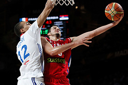 12.09.2014, City Arena, Madrid, ESP, FIBA WM, Frankreich vs Serbien, Halbfinale, im Bild France´s Gobert (L) and Serbia´s Kalinic // during FIBA Basketball World Cup Spain 2014 semifinal match between France and Serbia at the City Arena in Madrid, Spain on 2014/09/12. EXPA Pictures © 2014, PhotoCredit: EXPA/ Alterphotos/ Victor Blanco<br /> <br /> *****ATTENTION - OUT of ESP, SUI*****