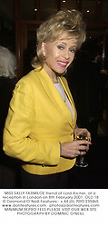 MISS SALLY FARMILOE friend of Lord Archer, at a reception in London on 8th February 2001.OLD 18