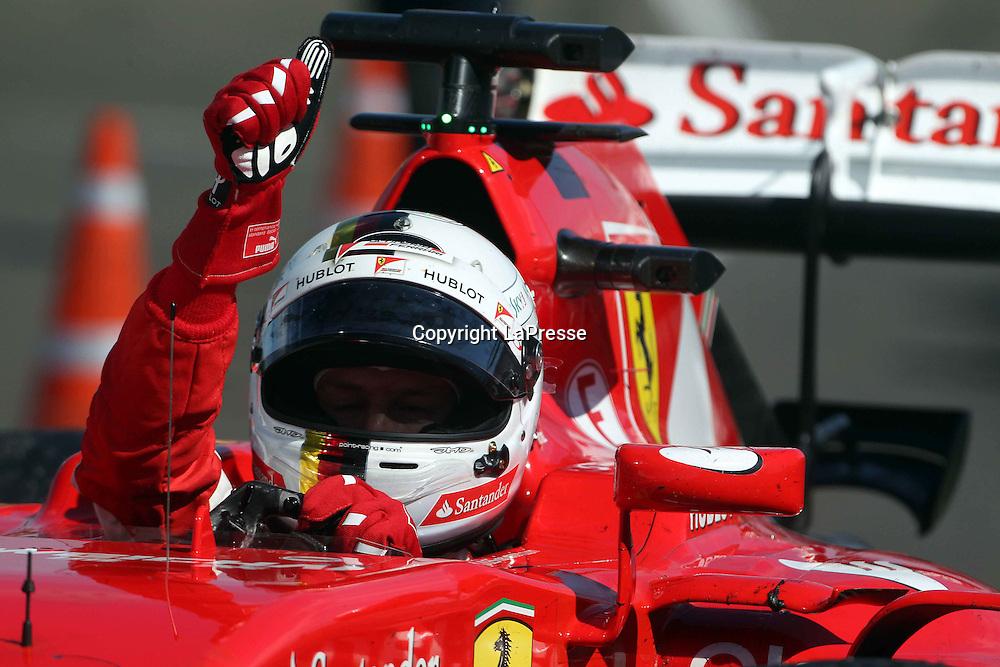&copy; Photo4 / LaPresse<br /> 26/07/2015 Budapest, Hungary<br /> Sport <br /> Grand Prix Formula One Hungary 2015<br /> In the pic:  race winner Sebastian Vettel (GER) Scuderia Ferrari SF15-T