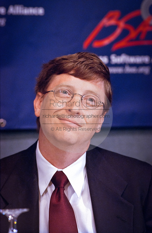 Bill Gates, founder and CEO of Microsoft attends a press conference by the Business Software Alliance June 16, 1999 in Washington, DC.