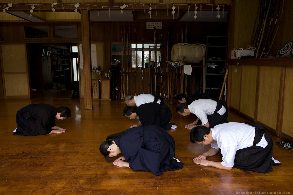 Trainning in Japanese manners at a branch of the Owasawara school in Saitama
