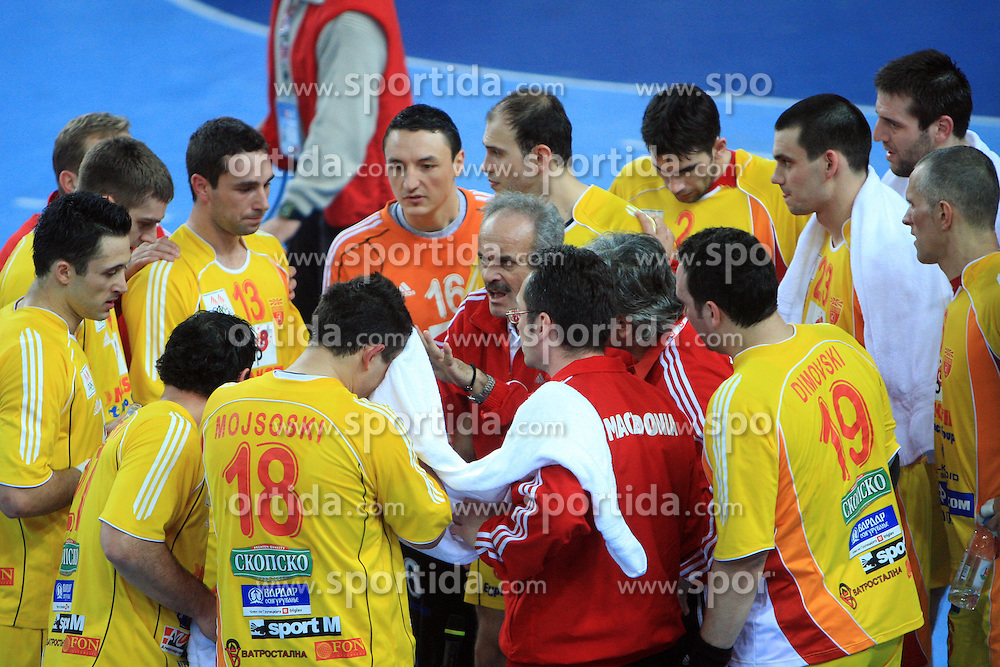 Head coach of Macedonia Ile Temelkovski during 21st Men's World Handball Championship preliminary Group C match between FYR Macedonia and Germany, on January 21, 2009, in Arena Varazdin, Varazdin, Croatia. (Photo by Vid Ponikvar / Sportida)