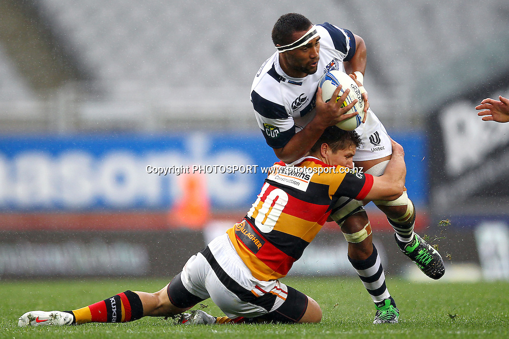 Auckland's Joe Edwards is tackled by Waikato's Piers Francis. ITM Cup rugby union match, Auckland v Waikato at Eden Park, Auckland, New Zealand. Saturday 8th September 2012. Photo: Anthony Au-Yeung / photosport.co.nz