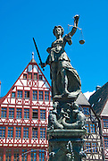 The Sculpture of the Justitia, Bronze work in Frankfurt am Main, Germany