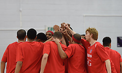 Bristol Flyers team huddle just before tip off - Photo mandatory by-line: Paul Knight/JMP - Mobile: 07966 386802 - 15/11/2014 - SPORT - Football - Bristol - SGS Wise Arena - Bristol Flyers v Cheshire Phoenix - Bristol Basketball League