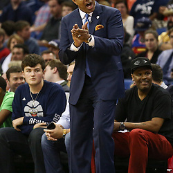 Feb 25, 2016; New Orleans, LA, USA; New Orleans Pelicans head coach Alvin Gentry against the Oklahoma City Thunder during the first quarter of a game at Smoothie King Center. Mandatory Credit: Derick E. Hingle-USA TODAY Sports