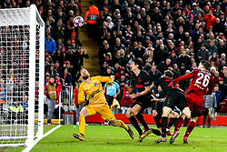 Andrew Robertson of Liverpool hits the bar with a header at goal - Mandatory by-line: Robbie Stephenson/JMP - 11/03/2020 - FOOTBALL - Anfield - Liverpool, England - Liverpool v Atletico Madrid - UEFA Champions League Round of 16, 2nd Leg
