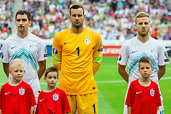 Branko Ilic of Slovenia, Samir Handanovic of Slovenia and Ales Mertelj of Slovenia during the EURO 2016 Qualifier Group E match between Slovenia and England at SRC Stozice on June 14, 2015 in Ljubljana, Slovenia. Photo by Vid Ponikvar / Sportida