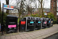 Bottle banks on Kilburn Park Road, London, after the Christmas period.