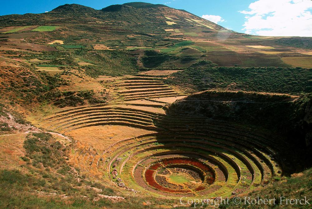PERU, CUZCO, INCA Moray, circular agricultural terraces