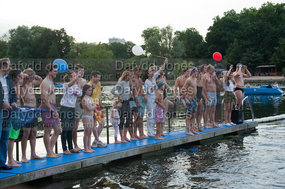 Chucs Dive & Mountain Shop charity Swim Party: Lido at The Serpentine. London. 4 July 2011. <br /> <br />  , -DO NOT ARCHIVE-© Copyright Photograph by Dafydd Jones. 248 Clapham Rd. London SW9 0PZ. Tel 0207 820 0771. www.dafjones.com.