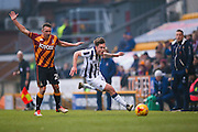 Bradford City defender Anthony McMahon (29) fouls Millwall midfielder Ben Thompson (8)  during the EFL Sky Bet League 1 match between Bradford City and Millwall at the Northern Commercials Stadium at Valley Parade, Bradford, England on 21 January 2017. Photo by Simon Davies.