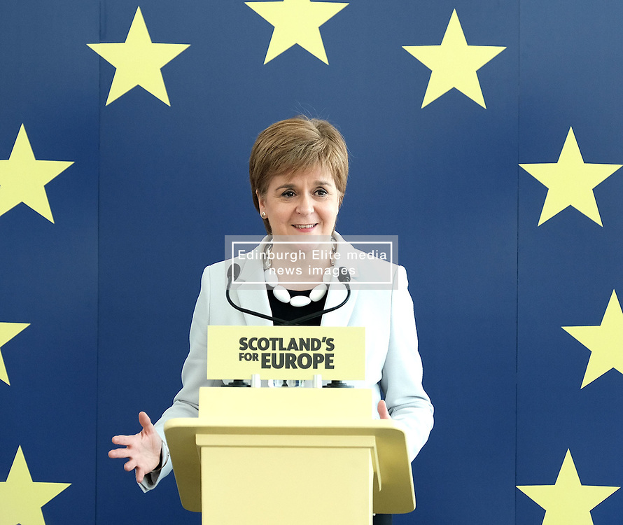 SNP launch European election campaign. Leader Nicola Sturgeon joined the party's six candidates.<br /> <br /> The candidates are Margaret Ferrier, Christian Allard, Alyn Smith, Aileen McLeod, Heather Anderson and Alex Kerr.<br /> <br /> Pictured: Nicola Sturgeon<br /> <br /> Alex Todd   Edinburgh Elite media