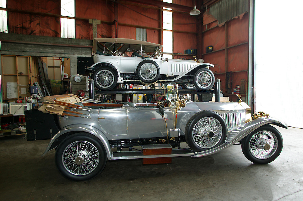 Two very rare vintage Roll Royce' owned by collector Bruce Simkin, New Plymouth, New Zealand, February 7, 2005. The foreground car is a 1920 Rolls Royce Silver Ghost and above is a 1914 Silver Ghost which was originally owned by a member of the Romanov's family in Czarist Russia. Credit:SNPA / Rob Tucker