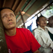 Former soldiers with the Karen National Liberation Army, who have been injured by landmines are shown  in the Men's Handicapped Ward at Mae Hla, Thailand refugee camp Wednesday, Aug. 17, 2011.  Sixteen landmine victims call the ward home.  All but two have been blinded by a landmine explosion.  (Photo by David Longstreath)