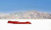 Image of a red streamliner racecar at Speed Week 2018 at the Bonneville Salt Flats, Utah, American Southwest