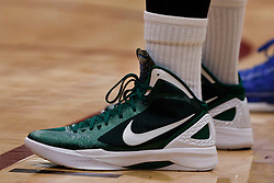 Nov 14, 2011; Stanford CA, USA;  Detailed view of the green Nike basketball shoes of Colorado State Rams forward Will Bell (23) during the first half of a preseason NIT game against the Southern Methodist Mustangs at Maples Pavilion. Colorado State defeated Southern Methodist 75-56. Mandatory Credit: Jason O. Watson-US PRESSWIRE