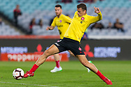 SYDNEY, AUSTRALIA - APRIL 13: Western Sydney Wanderers forward Oriol Riera (9) shoots at goal during warm up at round 25 of the Hyundai A-League Soccer between Western Sydney Wanderers and Sydney FC  on April 13, 2019 at ANZ Stadium in Sydney, Australia. (Photo by Speed Media/Icon Sportswire)