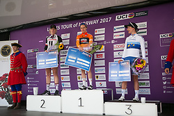 The top three celebrates on the podium after Stage 3 of the Ladies Tour of Norway - a 156.6 km road race, between Svinesund (SE) and Halden on August 20, 2017, in Ostfold, Norway. (Photo by Balint Hamvas/Velofocus.com)